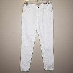 ASOS white high rise frayed hem skinny jeans
